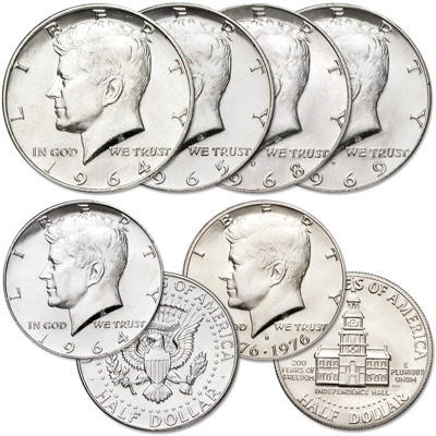 Image for 1964-1976 Silver Kennedy Half Dollar Collection (6 coins) from Littleton Coin Company