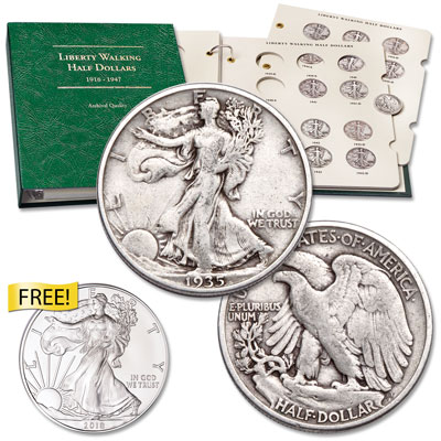 Image for 1935-1947 Liberty Walking Half Dollar Set with Album and 2018 Silver Eagle from Littleton Coin Company