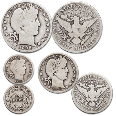 Image for Barber Type Set (3 coins) with 3 Folders from Littleton Coin Company