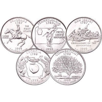 Image for 1999 P&D Statehood Quarter Year Set (10 coins), Uncirculated, MS60 from Littleton Coin Company