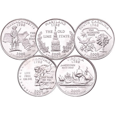 Image for 2000 P&D Statehood Quarter Year Set (10 coins), Uncirculated, MS60 from Littleton Coin Company