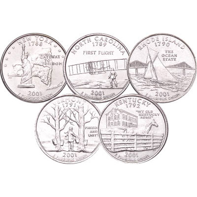 Image for 2001 P&D Statehood Quarter Year Set (10 coins), Uncirculated, MS60 from Littleton Coin Company