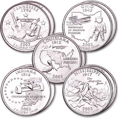 Image for 2002 P&D Statehood Quarter Year Set (10 coins), Uncirculated, MS60 from Littleton Coin Company