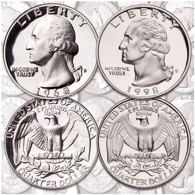 Image for 1968-1998 Complete Copper-Nickel Washington Quarter Set from Littleton Coin Company