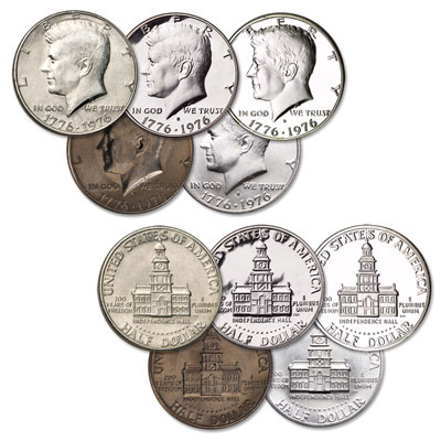Image for 1976 Bicentennial Kennedy Half Dollar Set (5 coins) from Littleton Coin Company