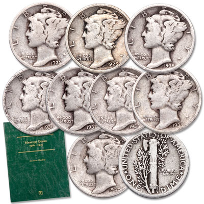 Image for 1925-1940 Mercury Dime Set with Folder from Littleton Coin Company