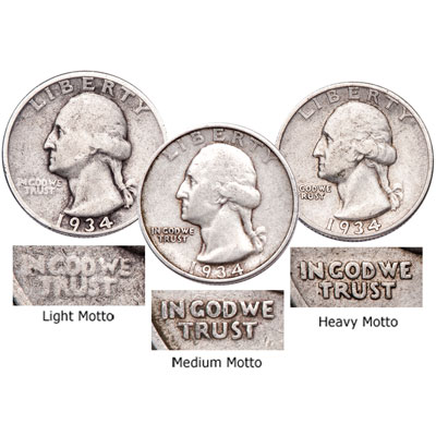 Image for 1934 Light, Medium & Heavy Motto Washington Quarter Set from Littleton Coin Company