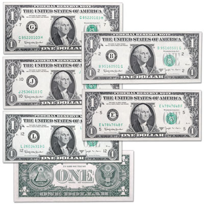 Image for 1963B Complete $1 Federal Reserve Barr Note Set (5 notes) from Littleton Coin Company