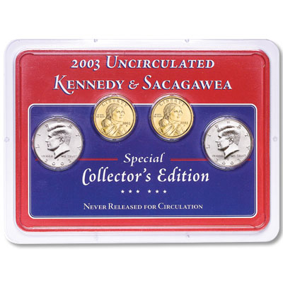 Image for 2003 P&D Kennedy Half Dollar & Sacagawea Dollar in Showpak, Uncirculated, MS60 from Littleton Coin Company