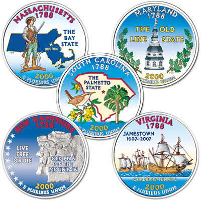 Image for 2000 Colorized Statehood Quarter Year Set from Littleton Coin Company