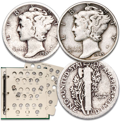 Image for 1920-1945 Mercury Dime Set with Album from Littleton Coin Company