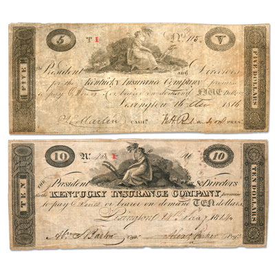 Image for 1814 $5 & $10 Kentucky Insurance Company Bank Note Set from Littleton Coin Company