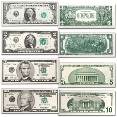 Image for $1, $2, $5, & $10 Federal Reserve Star Note Set from Littleton Coin Company