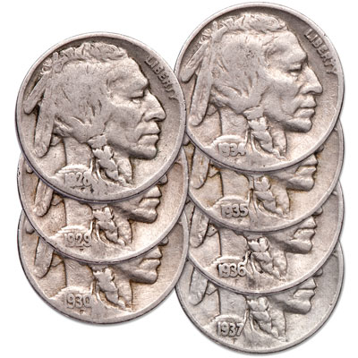 Image for 1928-1937 Last 7 Philadelphia Buffalo Nickels from Littleton Coin Company