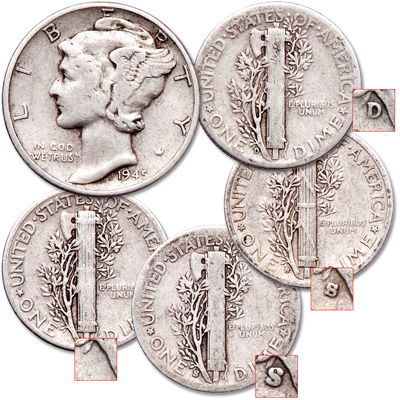 Image for 1945 All-Mint Mercury Dime set from Littleton Coin Company