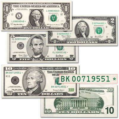 Image for 4 Different Federal Reserve Star Notes from Littleton Coin Company