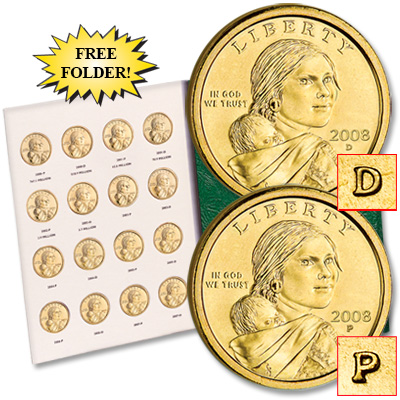 Image for 2000-2008 P&D Sacagawea Dollar Set with Folder from Littleton Coin Company