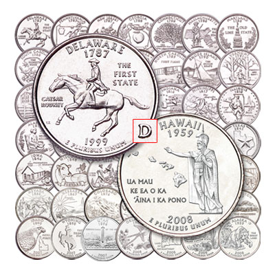 "Image for 1999-2008 ""D"" Mint Statehood Quarter Set (50 Coins) from Littleton Coin Company"