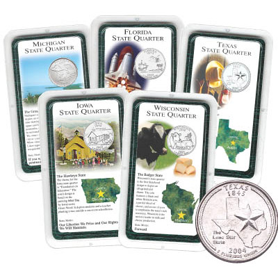 Image for All Five 2004 Statehood Quarter ShowpaksSet from Littleton Coin Company