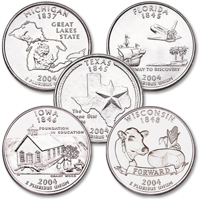 Image for 2004 P&D Statehood Quarter Year Set (10 coins), Uncirculated, MS60 from Littleton Coin Company
