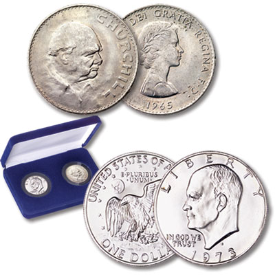 Image for 1965 & 1973-S Eisenhower & Churchill Set (2 coins), Uncirculated, MS60 from Littleton Coin Company