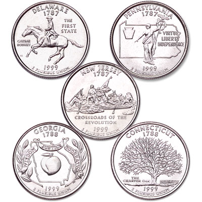 Image for 1999 Statehood Quarter Year Set (5 coins), Uncirculated, MS60 from Littleton Coin Company