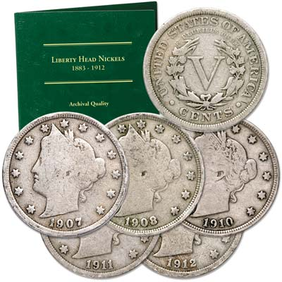 Image for 1907-1912 Liberty Nickel Set (5 coins) with Folder from Littleton Coin Company