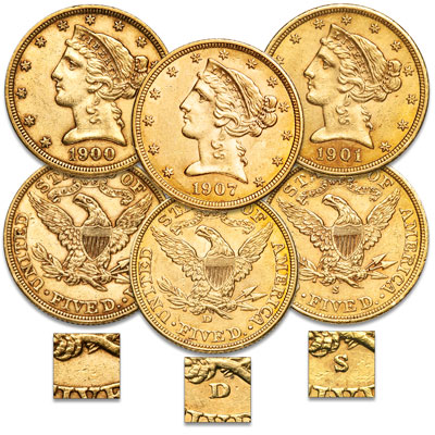 Image for 1895-1908 PDS $5 Gold Liberty Head Half Eagle Set from Littleton Coin Company