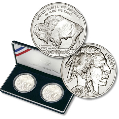 Image for 2001 American Buffalo Silver Dollar Set, Choice Uncirculated/Choice Proof from Littleton Coin Company