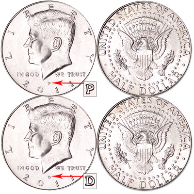 Image for 2011 P&D Kennedy Half Dollars, Uncirculated, MS60 from Littleton Coin Company