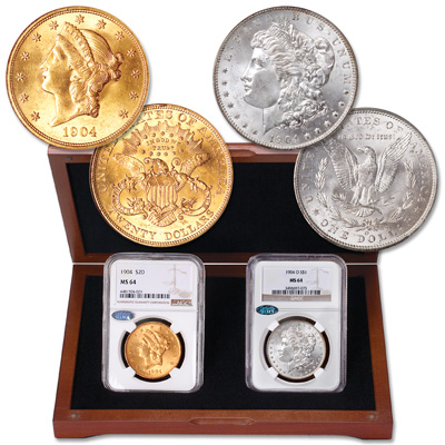 Image for 1904 Liberty Head $20 Gold Piece & 1904-O Morgan Dollar Set from Littleton Coin Company