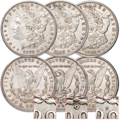 Image for 1879-1921 Morgan Dollar Set (3 coins) from Littleton Coin Company