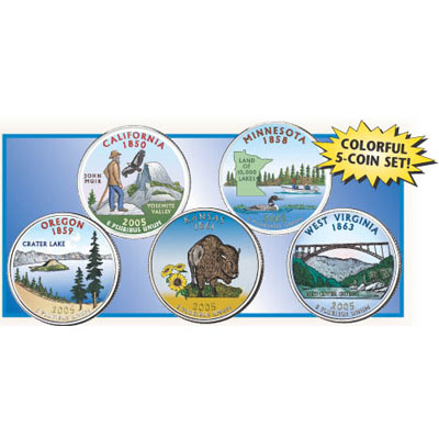 Image for 2005 Colorized Statehood Quarter Year Set from Littleton Coin Company