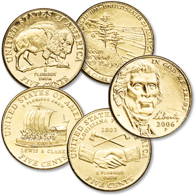 Image for 2004-2006 Gold-Plated Westward Journey Nickel Set (5 coins) from Littleton Coin Company