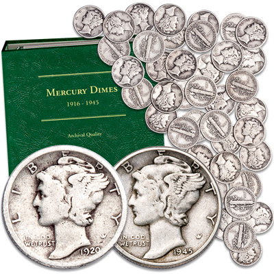 Image for 1920-1945 Mercury Silver Dime Set with Album from Littleton Coin Company