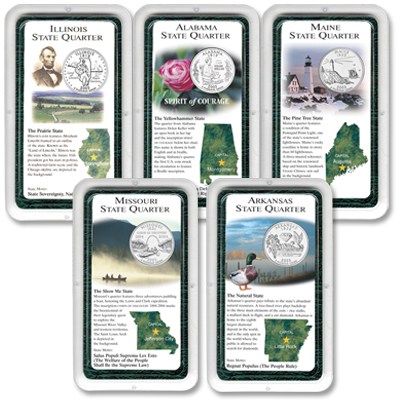 Image for All Five 2003 Statehood Quarter Showpaks from Littleton Coin Company