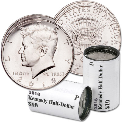 Image for 2018 P&D Kennedy Half Dollar Rolls from Littleton Coin Company