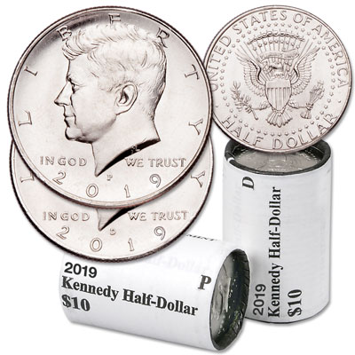 Image for 2019 P&D Kennedy Half Dollar Rolls from Littleton Coin Company
