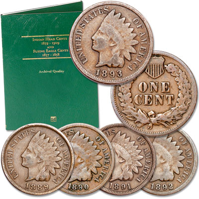 Image for 1889-1893 5 Consecutive Indian Head Cents with Free Folder from Littleton Coin Company