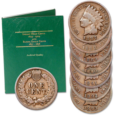 Image for 1887-1893 Consecutive Indian Head Cent Set from Littleton Coin Company