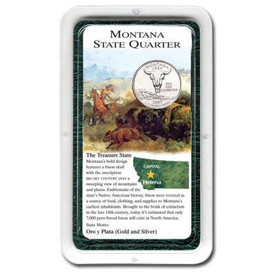 Image for 2007 Montana Quarter in Exclusive Showpak®, Uncirculated, MS-60 from Littleton Coin Company