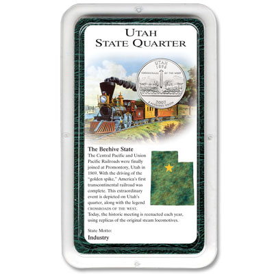 Image for 2007 Utah Quarter in Exclusive Showpak®, Uncirculated, MS-60 from Littleton Coin Company