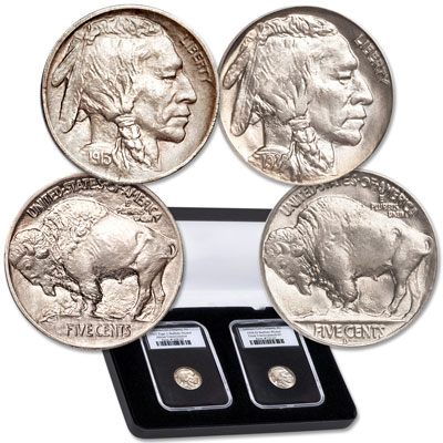 Image for 1913  & 1938-D First & Last Buffalo Nickel Set from Littleton Coin Company