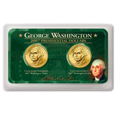 Image for 2007 Washington Dollar P&D in Exclusive Showpak, Uncirculated, MS60 from Littleton Coin Company