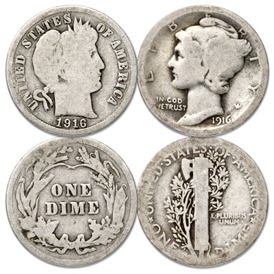 Image for 1916 Barber & Mercury Dime Transition Set from Littleton Coin Company