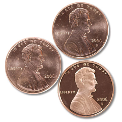 Image for 2006 PDS Lincoln Cent Set-3 Coins, Uncirculated-Proof from Littleton Coin Company