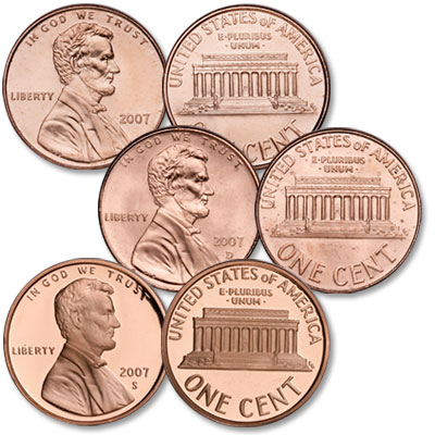 Image for 2007 PDS Lincoln Cent Set (3 Coins), Uncirculated/Proof from Littleton Coin Company