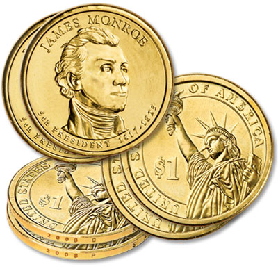 Image for 2008 P&D James Monroe Presidential Dollar Set (2-Coins), Uncirculated from Littleton Coin Company