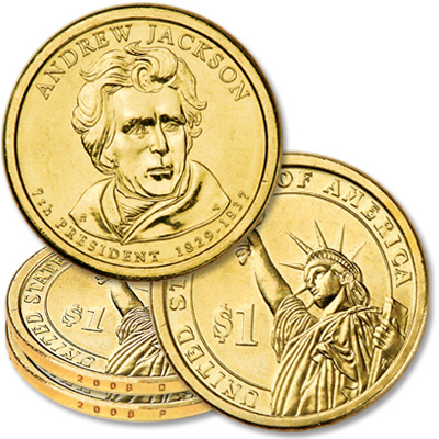 Image for 2008 P&D Andrew Jackson Presidential Dollar Set (2 coins) from Littleton Coin Company