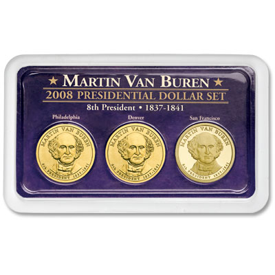 Image for 2008 Martin Van Buren Presidential Dollar in Exclusive PDS Showpak, Uncirculated/Proof from Littleton Coin Company